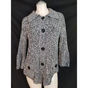 Ann Taylor Size M Black Gray Cardigan Sweater